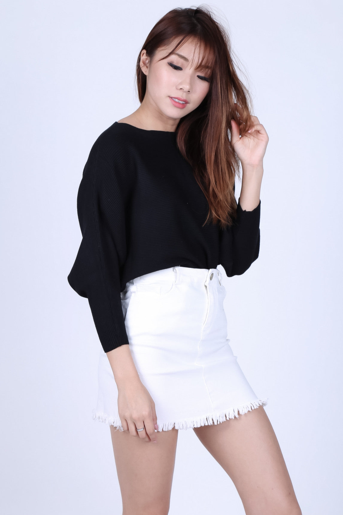 CASSIEL FRAYED DENIM SKIRT IN WHITE - TOPAZETTE