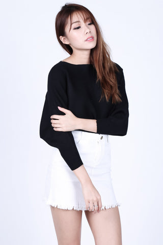 *RESTOCKED* LEIA SLOUCH KNIT TOP IN BLACK