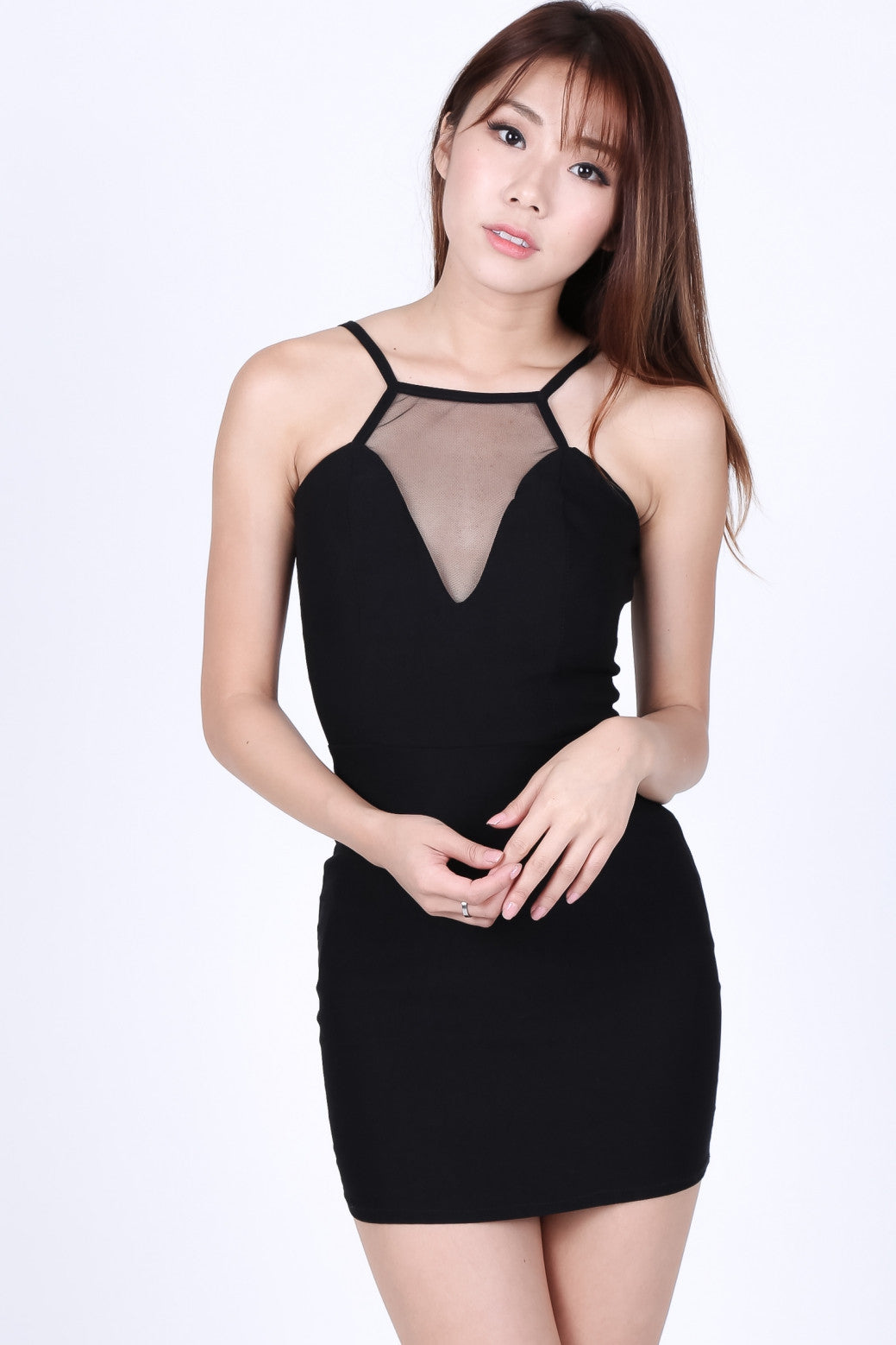 MESH INSERT LITTLE BLACK DRESS - TOPAZETTE