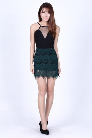 SCARLETT LACE SKIRT IN FOREST
