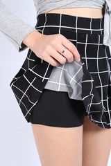 GRID PLEATED SKORTS IN BLACK (S-XL)