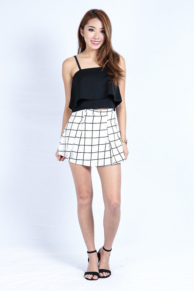 GRID PLEATED SKORTS IN WHITE (S-XL) - TOPAZETTE