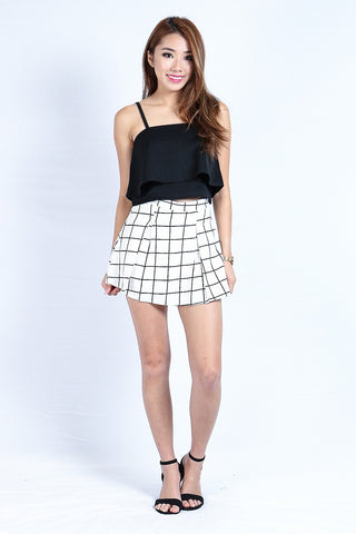 3742bbdc2671 GRID PLEATED SKORTS IN WHITE (S-XL)