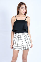 GRID PLEATED SKORTS IN WHITE (S-XL)