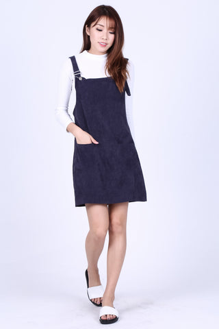 PASTEL DUNGAREE DRESS WITH POCKETS IN NAVY