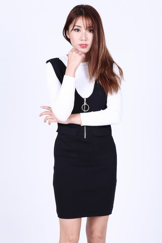 RING ZIPPER KNIT DUNGAREE DRESS IN BLACK - TOPAZETTE