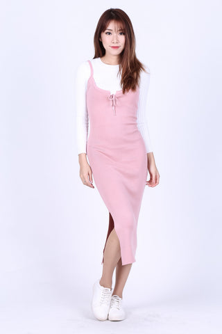 VEE LACED KNIT MIDI DRESS IN BABY PINK