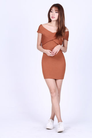 ONE WAY OR ANOTHER KNIT DRESS IN CAMEL - TOPAZETTE