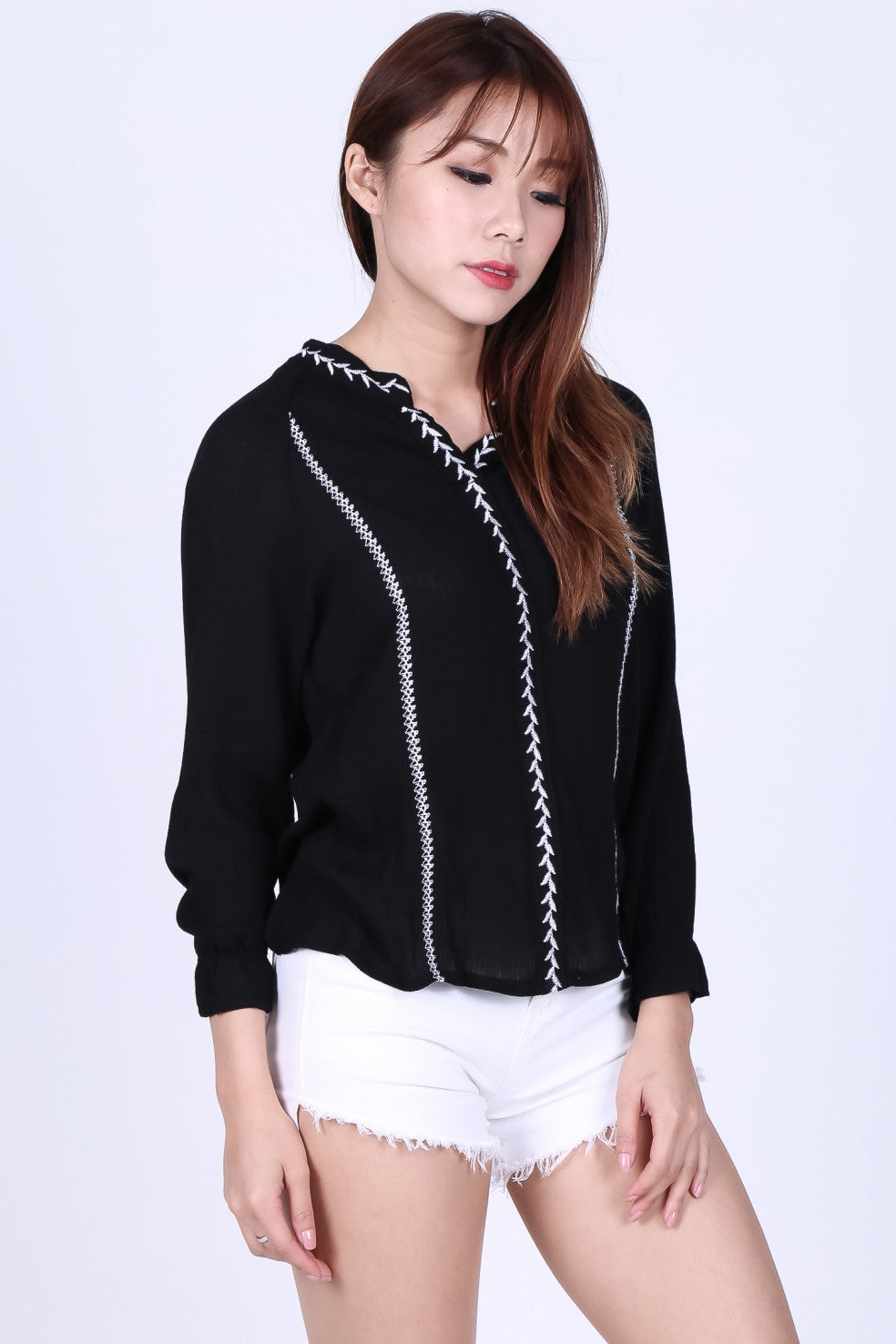 ELM BOHO SHIRT IN BLACK - TOPAZETTE