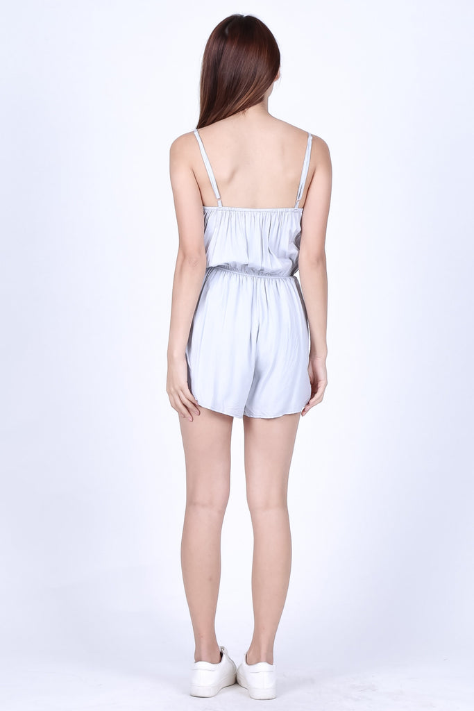 *TOPAZ* SUMMER EMBROIDERY ROMPER IN POWDER BLUE - TOPAZETTE