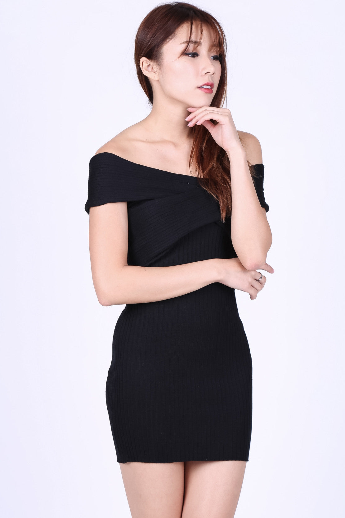 ONE WAY OR ANOTHER KNIT DRESS IN BLACK - TOPAZETTE