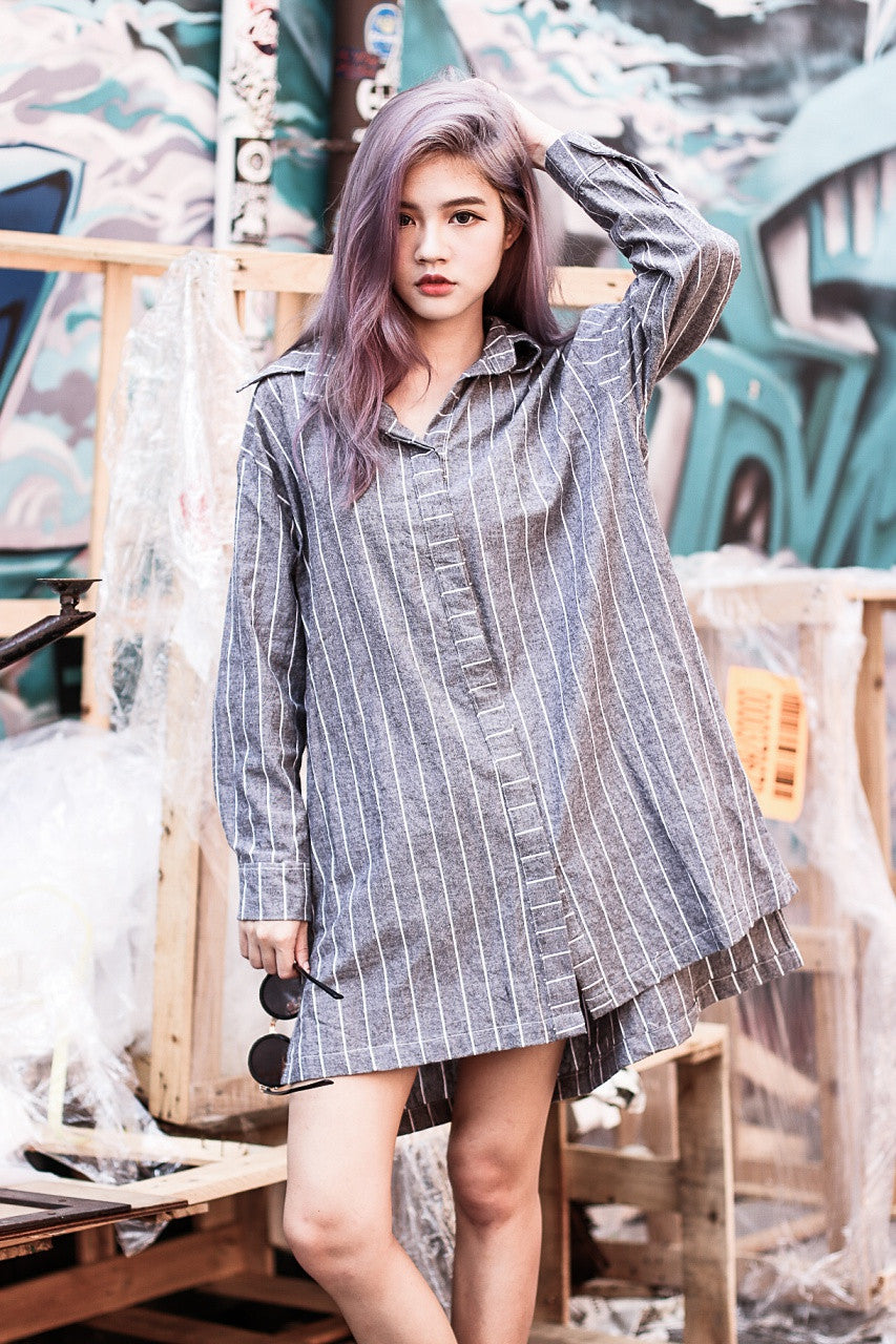 OVERSIZED STRIPES SHIRT DRESS IN BLACK ASH