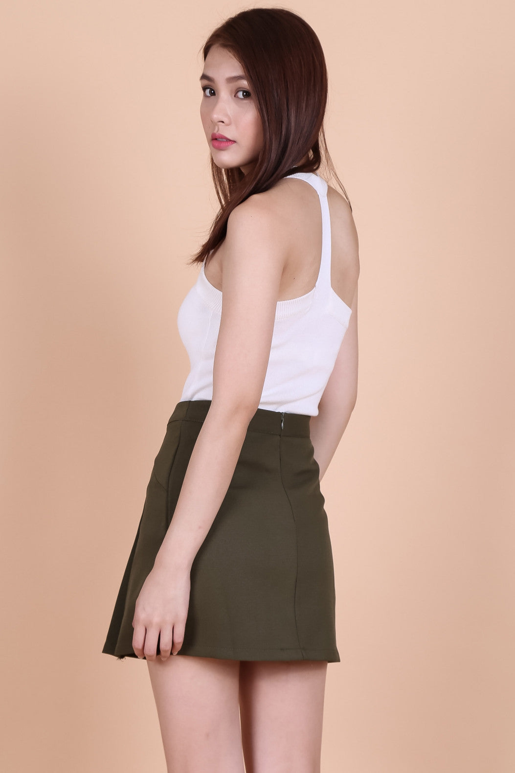 MILITARY DOUBLE ROW SKORTS IN OLIVE - TOPAZETTE