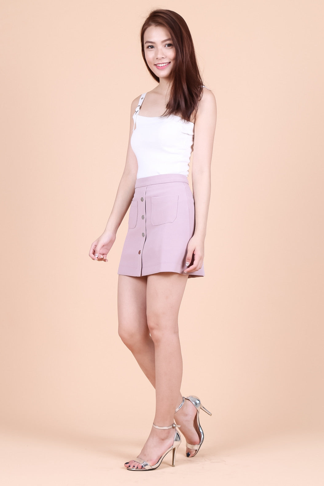 SKYLAR BUTTONED DOWN SKORTS IN BLUSH