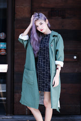 (PREMIUM) LONG TRENCH PARKA IN FOREST - TOPAZETTE