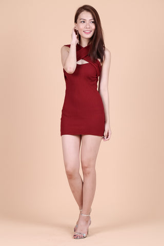 ONE WAY OR ANOTHER KNIT DRESS IN WINE - TOPAZETTE