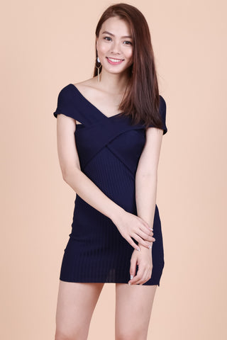 ONE WAY OR ANOTHER KNIT DRESS IN NAVY - TOPAZETTE