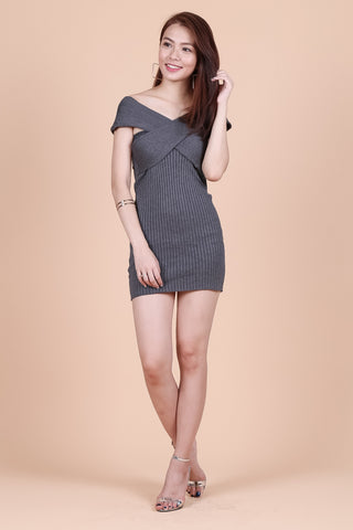 ONE WAY OR ANOTHER KNIT DRESS IN GREY - TOPAZETTE