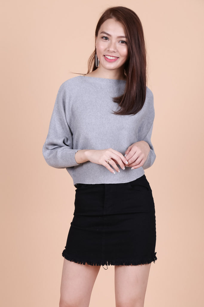 KIN SLOUCH KNIT TOP IN GREY - TOPAZETTE