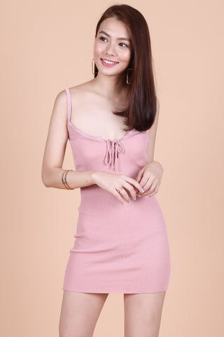 LACED FRONT KNIT DRESS IN BABY PINK