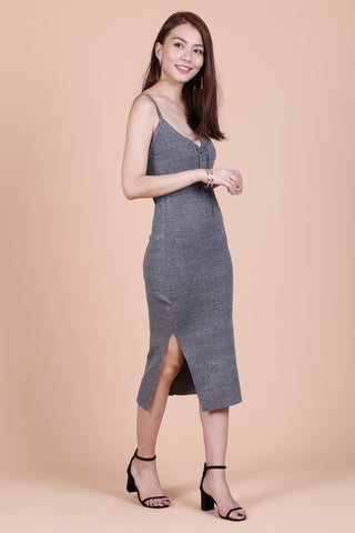 VEE LACED KNIT MIDI DRESS IN GREY
