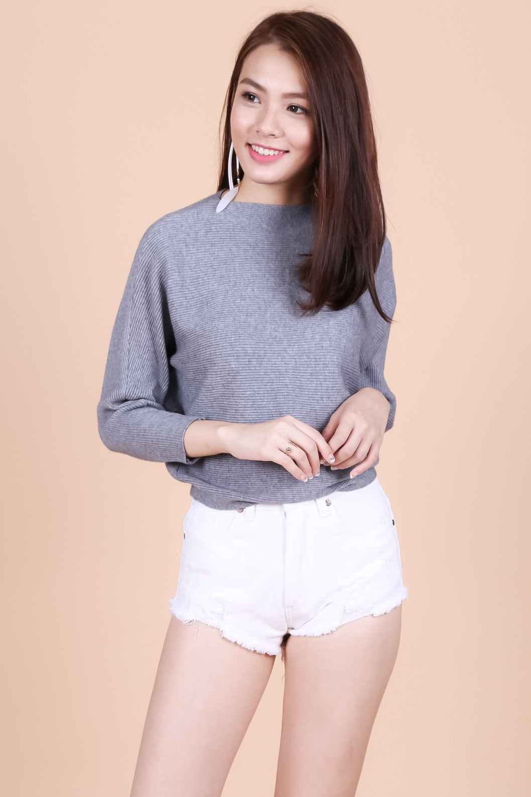 *RESTOCKED* LEIA SLOUCH KNIT TOP IN GREY - TOPAZETTE