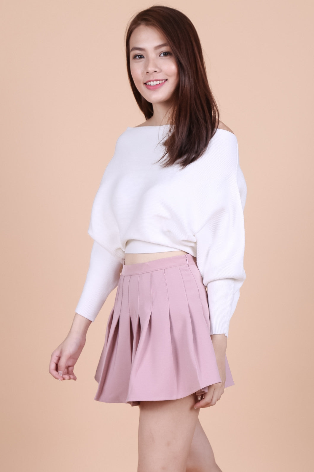 KIN SLOUCH KNIT TOP IN WHITE - TOPAZETTE
