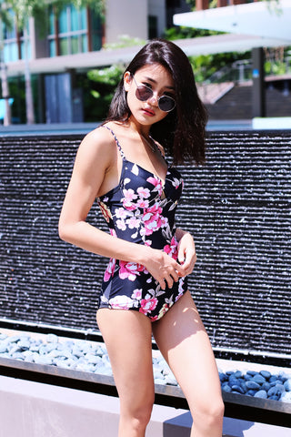 *RESTOCKED* BRAIDED FLORAL MONOKINI (BLACK)