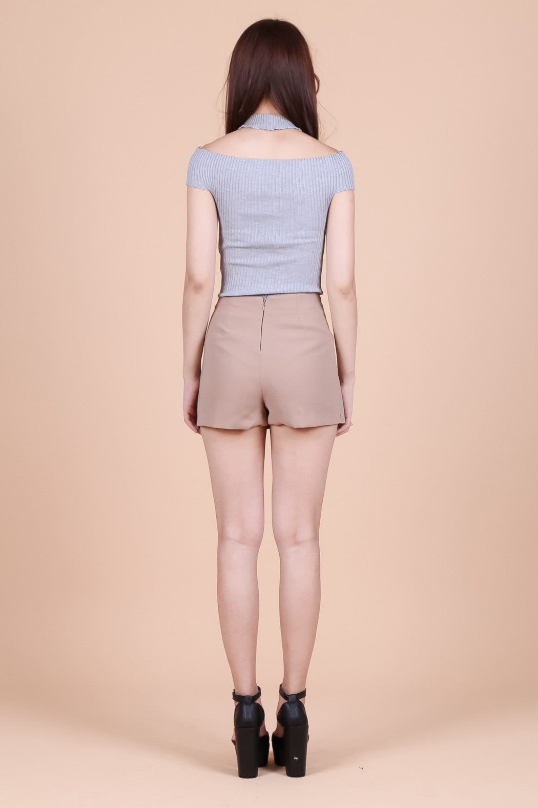 *RESTOCKED* NO STRINGS ATTACHED SKORTS IN TAUPE