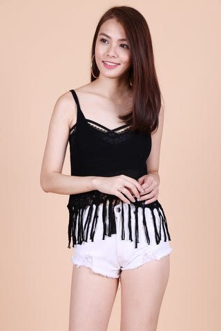 TASSEL WOVEN KNIT TOP IN BLACK