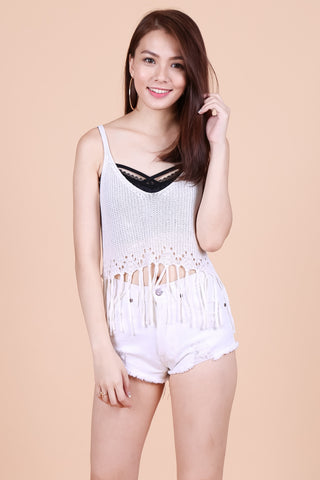 TASSEL WOVEN KNIT TOP IN WHITE