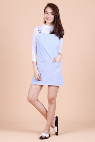 PASTEL DUNGAREE DRESS WITH POCKETS IN SKY BLUE