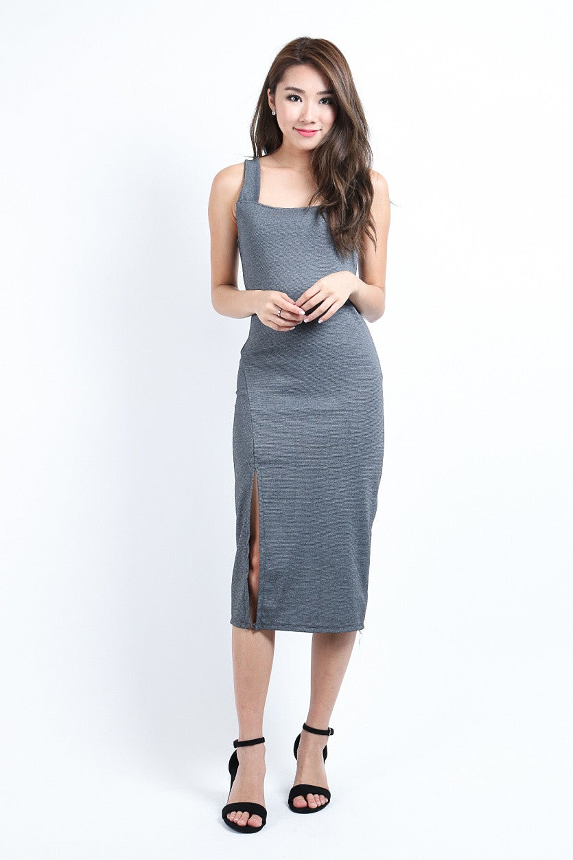 (RESTOCKED) SLEEVELESS SLIT MIDI IN GREY - TOPAZETTE