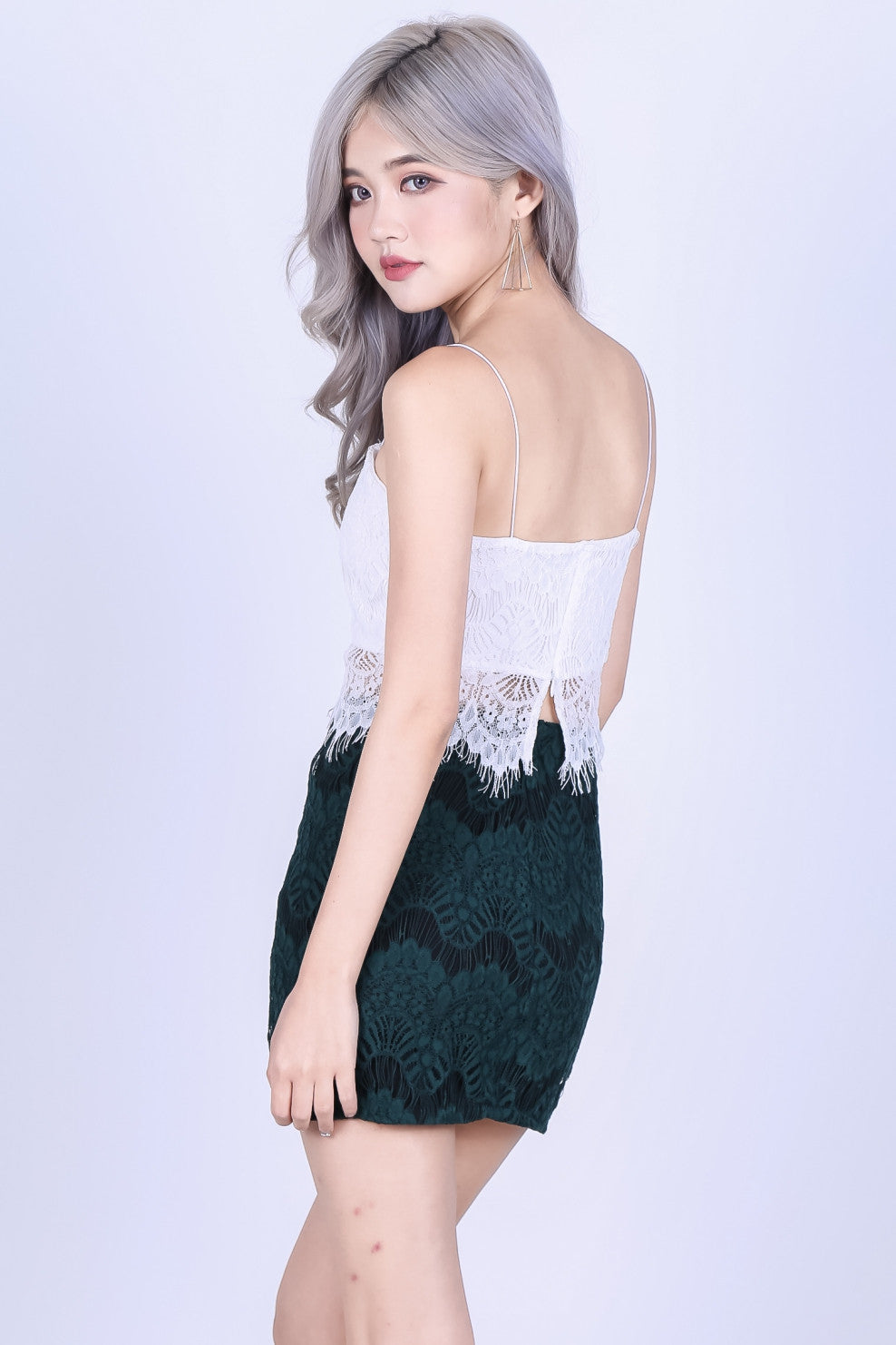 RIGHT HERE RIGHT NOW LACE SKIRT IN FOREST - TOPAZETTE