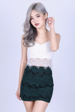 RIGHT HERE RIGHT NOW LACE SKIRT IN FOREST