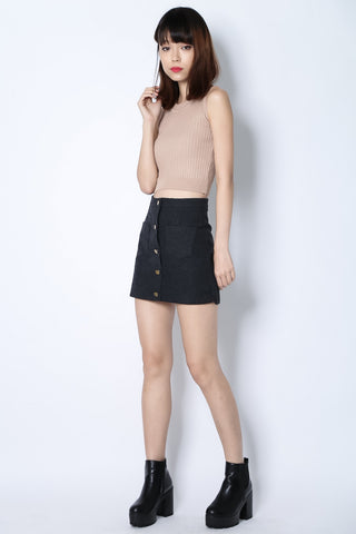 9ad969d5530a9 (RESTOCKED) BUTTON DOWN DENIM SKIRT IN BLACK