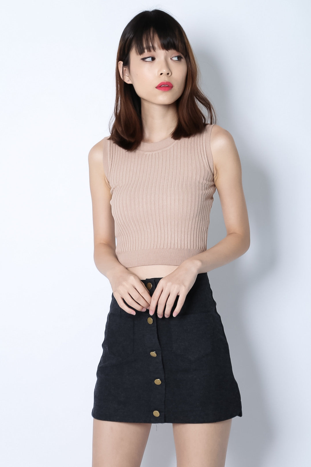(RESTOCKED) BUTTON DOWN DENIM SKIRT IN BLACK - TOPAZETTE