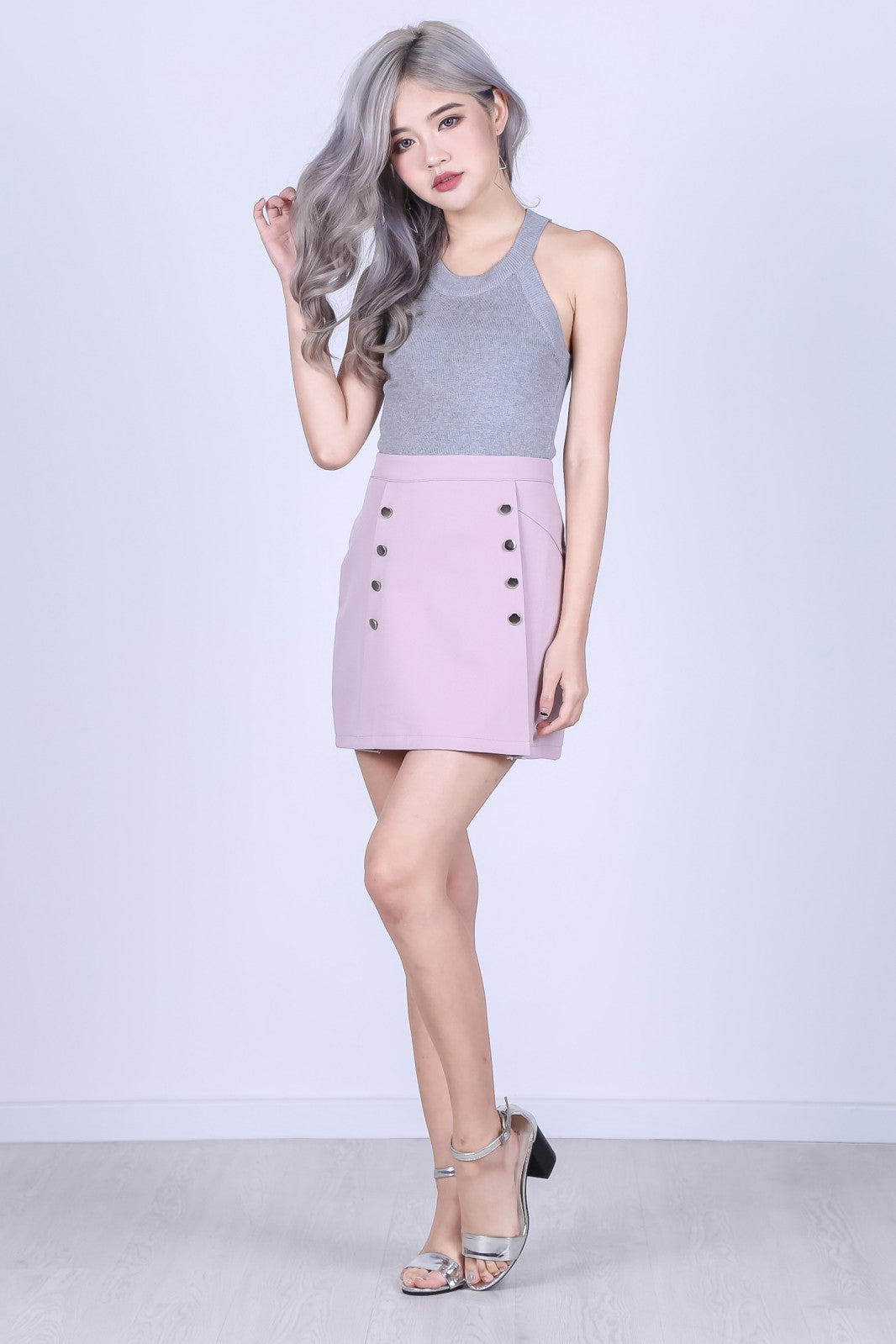 MILITARY DOUBLE ROW SKORTS IN NUDE PINK - TOPAZETTE