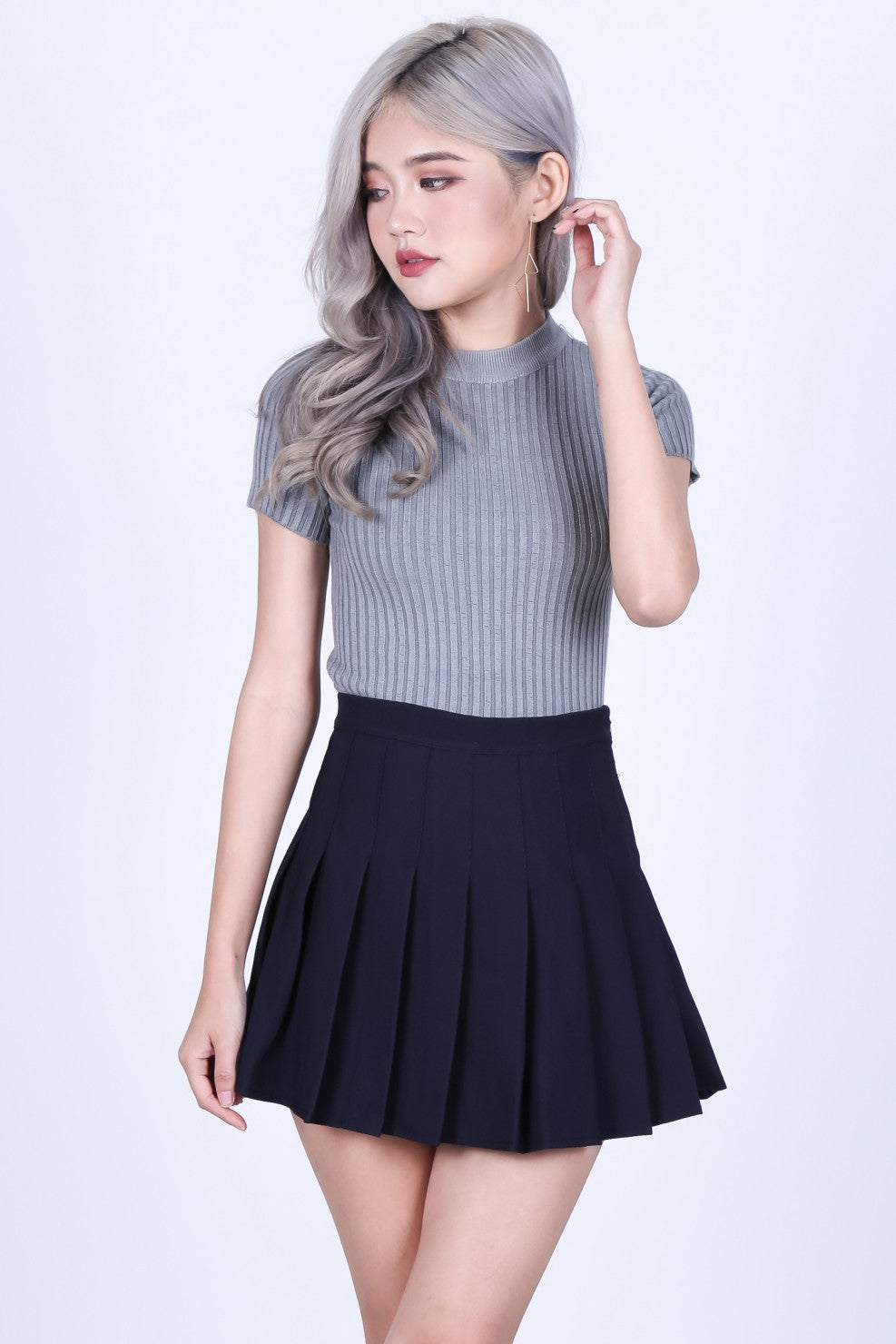 BROOKE SOFT KNIT TOP IN GREY - TOPAZETTE
