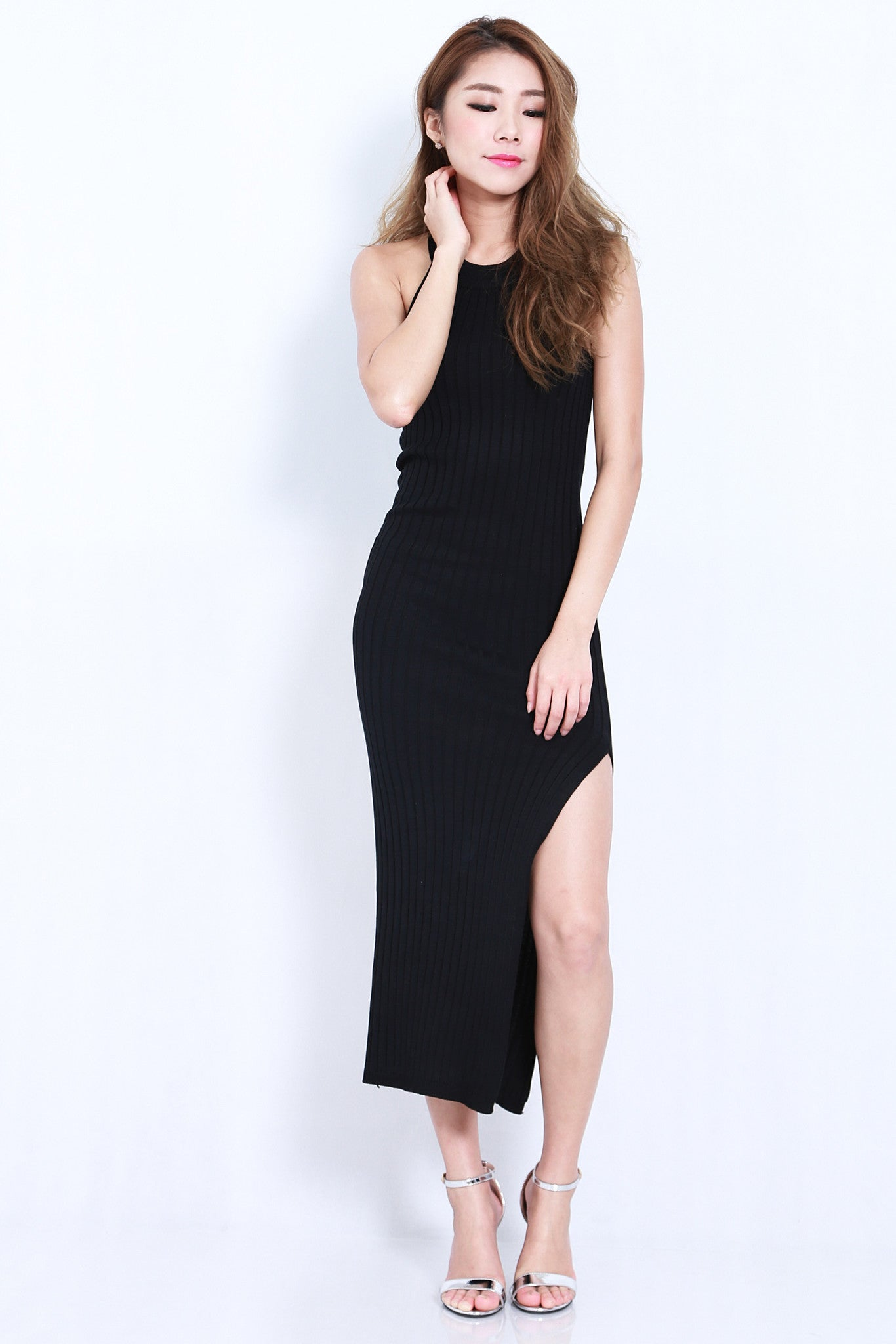 (RESTOCKED) MADDOX KNIT MAXI IN BLACK - TOPAZETTE