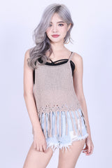 TASSEL WOVEN KNIT TOP IN TAUPE