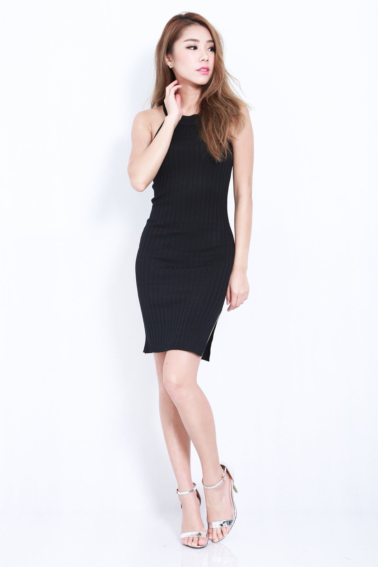(RESTOCKED 3) EL MONTE KNIT DRESS IN BLACK - TOPAZETTE