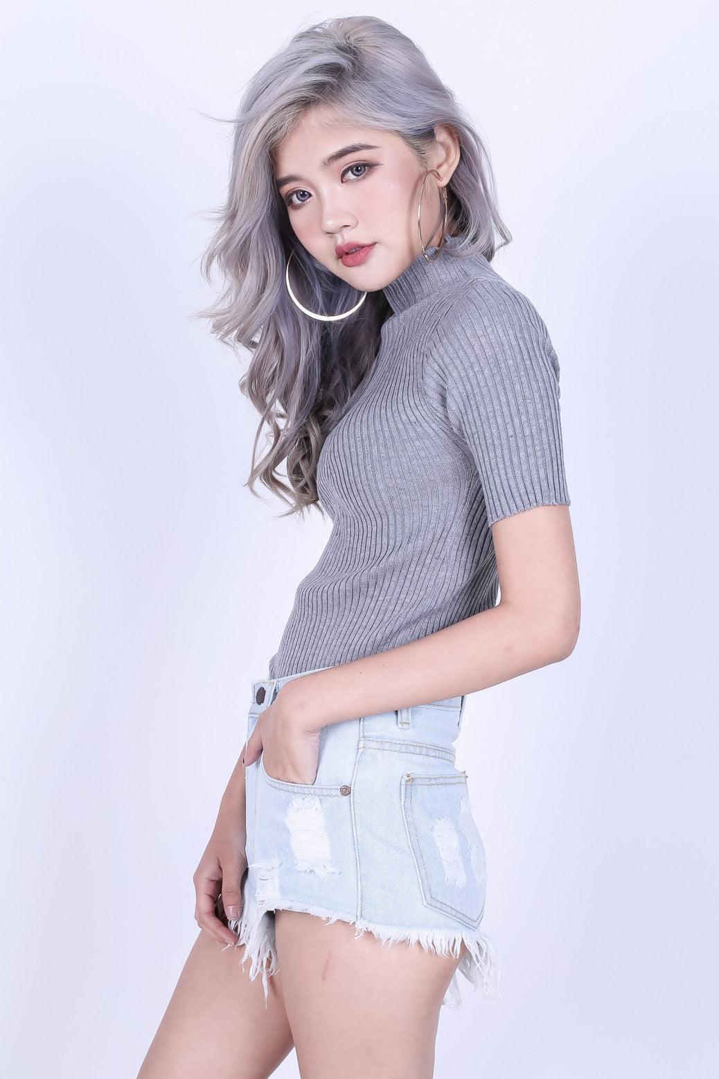 HIGH NECK RIBBED KNIT TOP IN GREY - TOPAZETTE