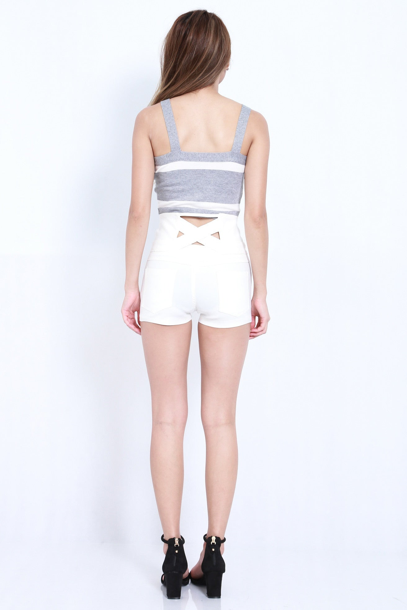 CROSS BACK HIGH WAISTED SHORTS IN WHITE