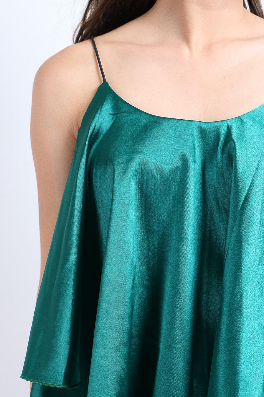 SATIN SPAG TOP IN GREEN
