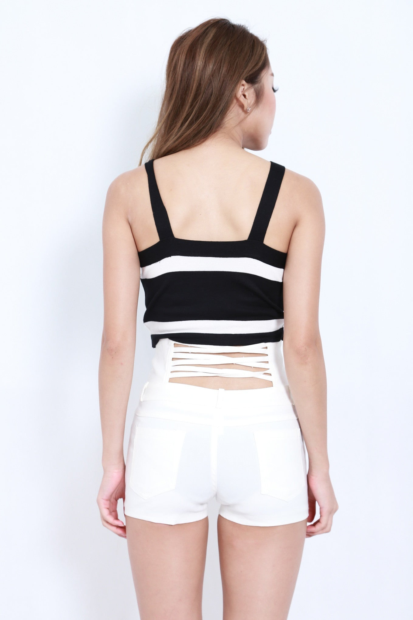 MULTI STRAPS HIGH WAISTED SHORTS IN WHITE - TOPAZETTE