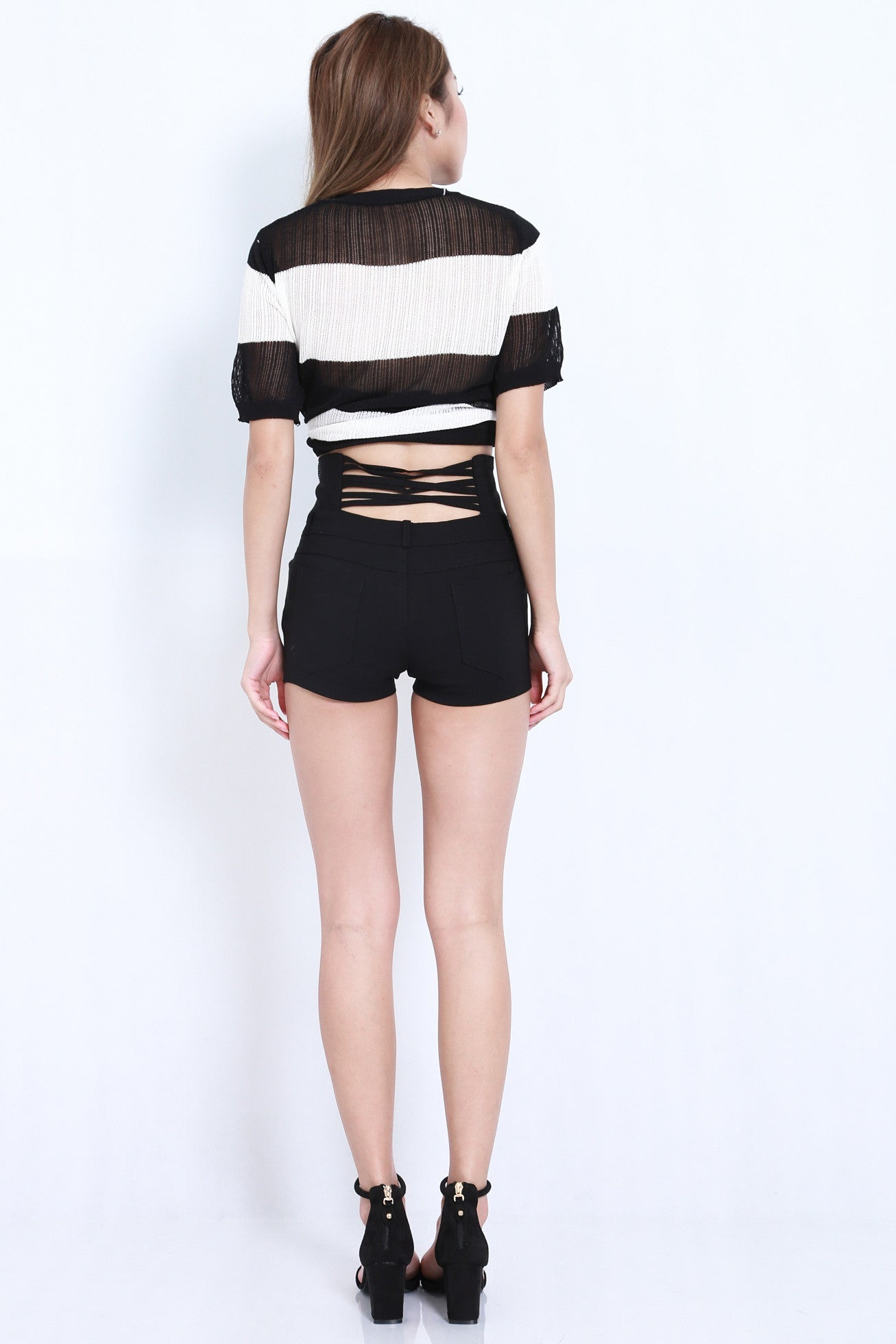 MULTI STRAPS HIGH WAISTED SHORTS IN BLACK - TOPAZETTE