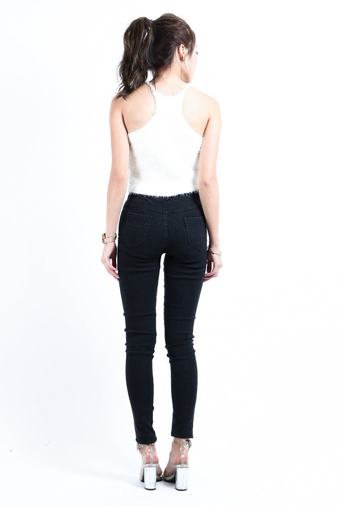 (BACKORDER) SLIM CUT DENIM JEGGINGS IN BLACK - TOPAZETTE