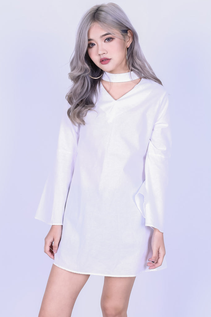 *RESTOCKED* PIXIE CHOKER BELL SLEEVES DRESS IN WHITE - TOPAZETTE