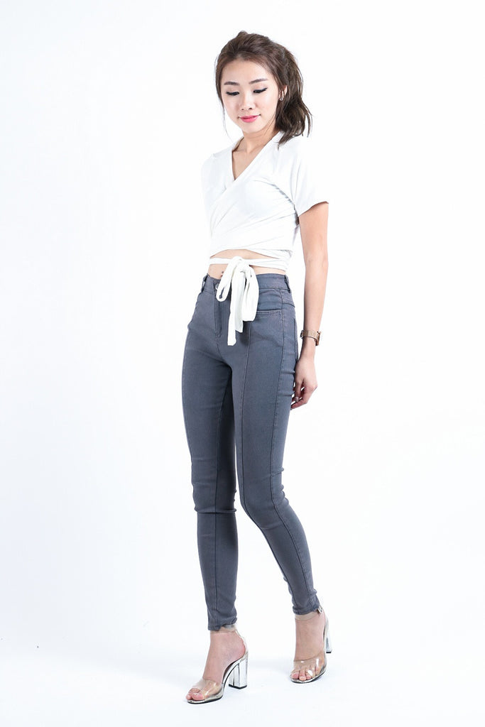 *RESTOCKED* SLIM CUT DENIM JEGGINGS IN GREY
